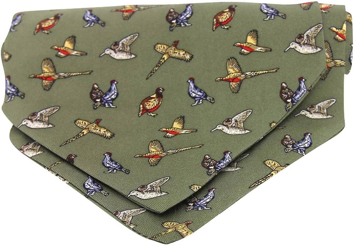 David Van Hagen Mens Country Birds Silk Twill Country Cravat - Green