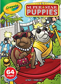 Crayola - 64-Page Coloring Book & Stickers, Superstar Puppies