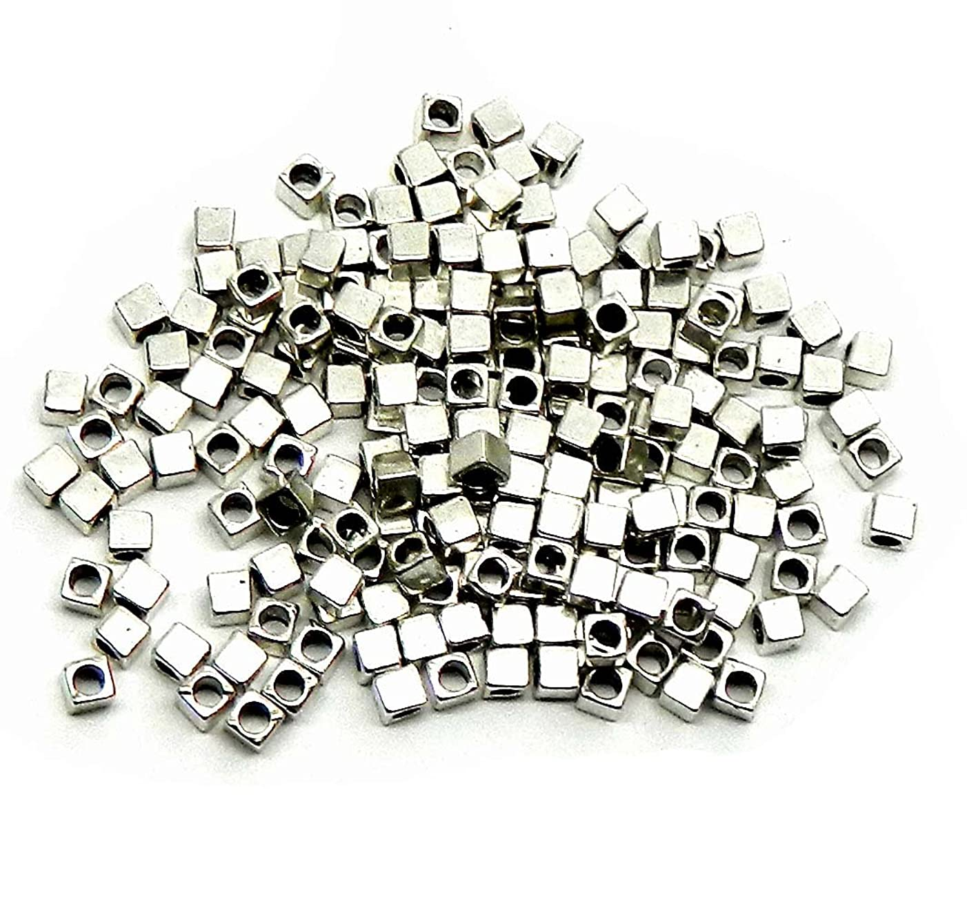 Rockin Beads Brand, 180 4x4mm Cube Antiqued Silver Beads Cast Zinc Metal Spacer Beads (Approx 2.5mm Hole)
