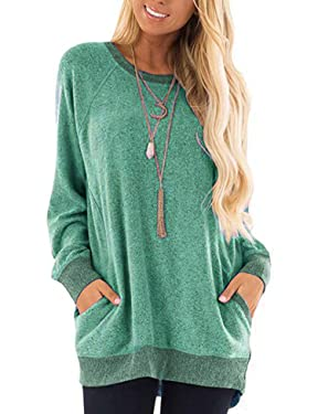 Beyove Womens Casual Color Block Long Sleeve Pocket Sweatshirts T Shirts Round Neck Blouses Tops