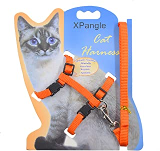 XPangle Cat Harness and Leash Adjustable Nylon Halter Harness Kitten Nylon Strap Belt Safety Rope Leads