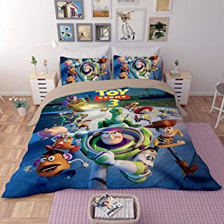EVDAY Toy Story Duvet Cover Set for Kids Bed Set Soft Microfiber Polyester Cute Cartoon Film Theme Bedding 3Piece Including 1Duvet Cover,2Pillowcases Queen Size
