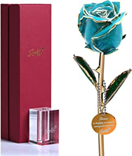 Icreer Gold Dipped Blue Rose Flower Gifts for Anniversary,Birthday,Valentine's Day,Wedding,Gift for Her,Mom,Wife,Girlfriend,Free Crystal Stand