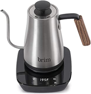 Brim 0.8L Gooseneck Kettle w Wood Handle, Easy Brewing Pour Over Coffee, Tea or Hot Beverages, 6 Variable Temperature Pres...