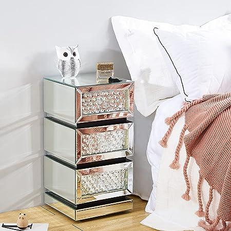 Panana Table de Chevet Miroir en Cristal Verre Meuble de Rangement, 3 Tiroirs sur Salon, Chambre, Bureau, 30 x 30 x 60 cm