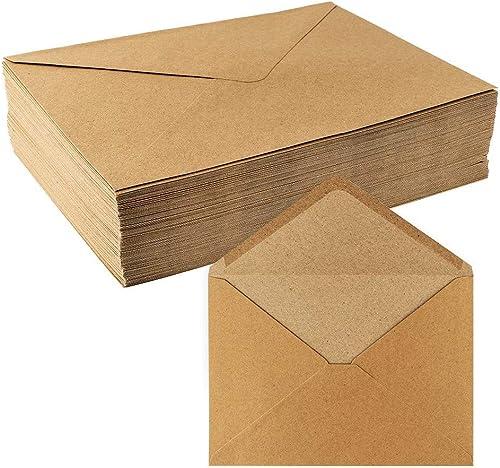 Lot de 100enveloppes krafts de qualité supérieure, haute qualité 110g/m². Enveloppes idéales pour lettres, carte de...