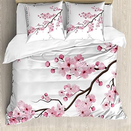 asiatisch 2 Teiliges Kissenbezugs Set Bambusstämme und Blüten