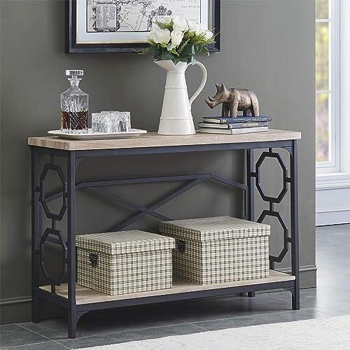O&K Furniture Narrow Sofa Table with Storage Shelf, Farmhouse Hallway Console Table for Entryway, White Oak Finish(1-...