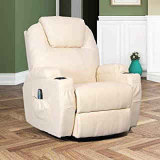 Esright Massage Recliner Chair Heated PU Leather Ergonomic Lounge 360 Degree Swivel (Cream)