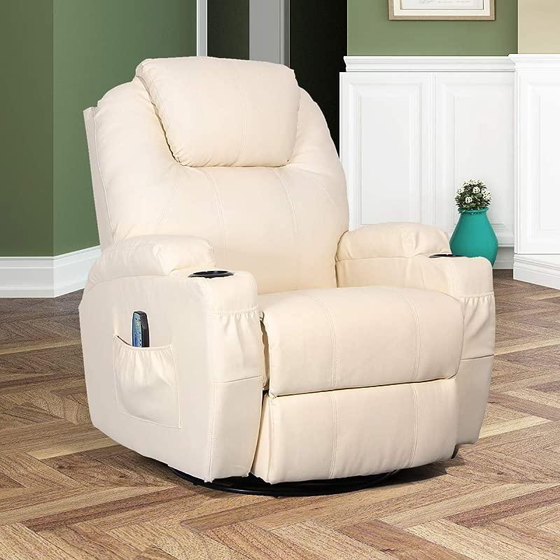 Esright Massage Recliner Chair Heated PU Leather Ergonomic Lounge 360 Degree Swivel Cream