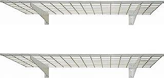 HyLoft 00967 45-Inch by 15-Inch Steel Wall Shelf for Garage Storage, Low-Profile Brackets, Off White, 2-Pack