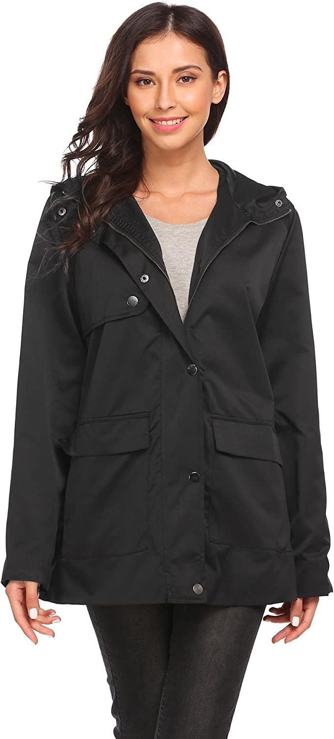 Dickin Women's Lightweight Windproof Zipper and Snap Button Hooded Solid Casual Loose Trench Coat(SXL)