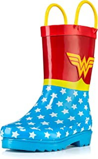 DC Comics Girls' Wonder Woman Printed Waterproof Easy-On Rubber Rain Boots (Toddler/Little Kids)
