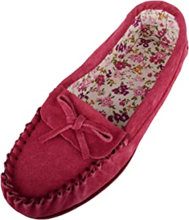 SNUGRUGS Ladies/Womens Soft Suede Moccasins/Slippers with Beautiful Cotton Lining