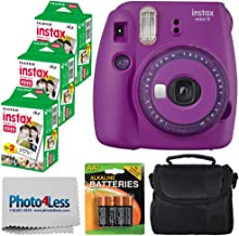 Fujifilm Instax Mini 9 Instant Film Camera (Purple with Clear Accents) + Fujifilm Instax Mini Twin Pack Instant Film (60 Shots) + Compact Case + 4 AA Batteries + Cleaning Cloth – Full Accessory Bundle