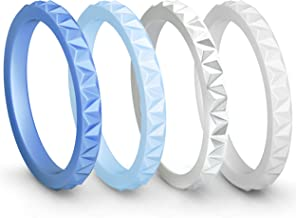 ThunderFit Womens Triangle Diamond Stackable Rings 4 Pack Thin Silicone Wedding Rings - 2.5mm Wide - 2mm Thick