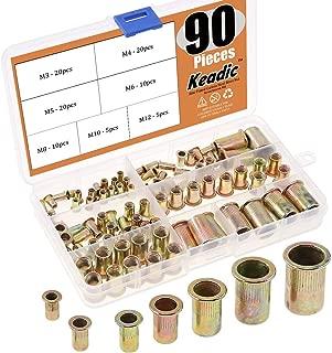 Keadic 90Pcs Metric Mixed Zinc Plated Carbon Steel Rivet Nut Flat Head Threaded Insert Nutsert Assortment Kit - Sizes Include:M3 M4 M5 M6 M8 M10 M12