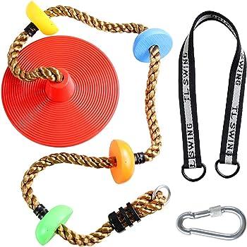 クライミングロープ ブランコ スイング リング付き ロックカラビナ ディスク 子供クライミング用 おもちゃ ロープ はしご 耐荷重130kg アウトドア 室内 遊び場 公園 キッズ (昇級版)