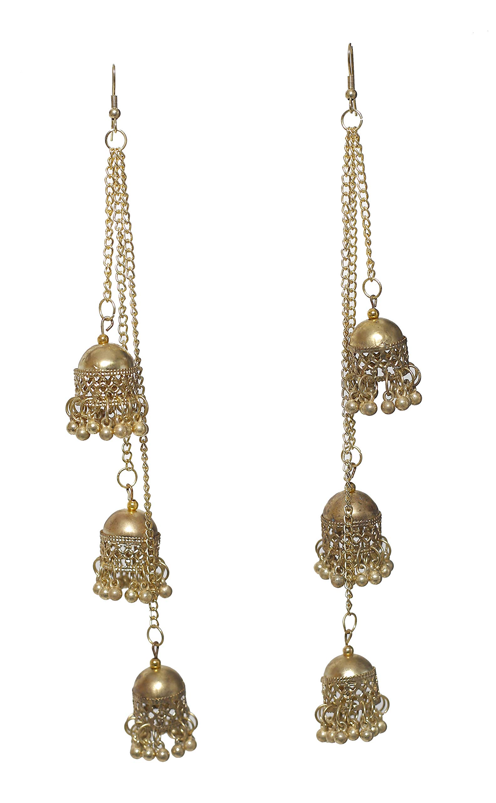 Jwellmart Afghani Bohemian Kashmiri Style Oxidized Drop Dangle Bali Jhumka Indian Long Earrings for Women and Girls