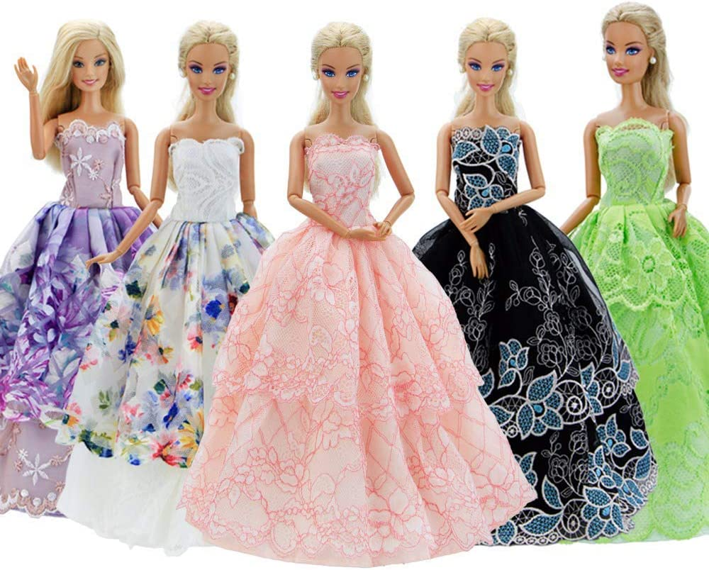 Cheap GIETIOS 5Pcs Handmade Clothes Wholesale Dress for Doll Barbie Wedding Part