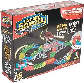 LIGHTNING SPEEDY Tracks Circuit de Voiture Flexible, modulable, Magic et Luminescent avec Ses Accessoires Ultra Fun - Méga...