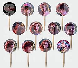 Party Over Here Stranger Things Cupcake Picks Double-Sided Images Cake Topper -12, Eleven Mike Dustin Lucas Will Steve Nancy Jonathon Joyce Jim Billy Max