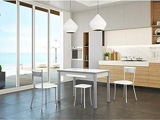 Dekogar Conjunto Mesa Extensible y sillas de Cocina Modelo A (Blanco)