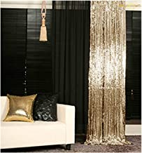ShinyBeauty Backdrop for Pictures 2FTx7FT-2Pack Sequin Curtain Backdrop 2 Panels Light Gold Shimmer Backdrop~N10.26
