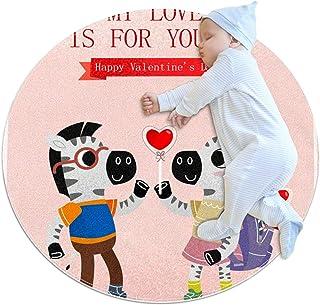 Soft Round Area Rug 70x70cm/27.6x27.6IN Anti-Slip Floor Circle Mats Absorbent Memory Sponge Standing Mat,Happy Valentines ...