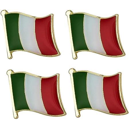Set di 4 x Badge of Italy in Metallo Patriottico smaltato Italiano con Spilla Smaltata 19mm x 15mm