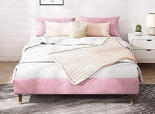 Sponsored Ad - Allewie Light Pink Velvet Upholstered Queen Size Platform Bed Frame, 13 Inch Mattress Foundation with Wood ...