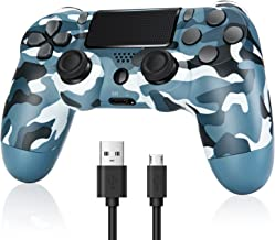 $28 » ZOKIKY Wireless Controller Compatible with PS4, Camouflage Blue New Remote,Built-in 800mAh, with Double Shock/Headset Jac...