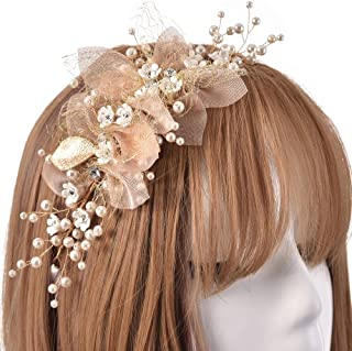 Gold Wedding Headpieces Flower Crown Wreath, Artificial Pearls Headband Tiara, Crystals Hair Party Accessories with ribbon for Bride Bridesmaid