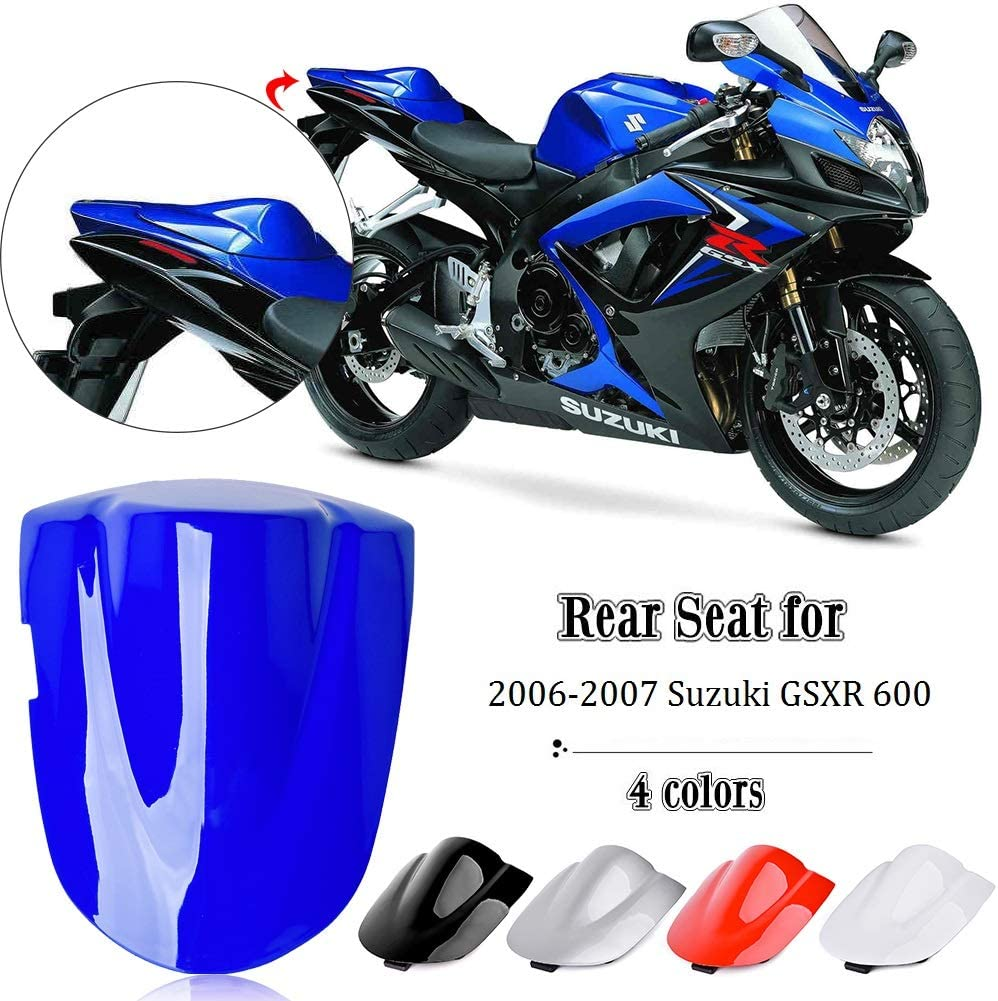 Motocicleta Aftermarket Pasajero Trasero Pillion Solo Seat Cowl Hard ABS Motor Fairing Tail Cover para 2006-2007 Su-zu-ki GSXR GSX-R 600 750 K6 06-07 Azul