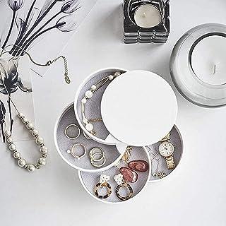 aipipl Rond 360deg; Stockage de Bijoux de Conception rotative, boîte à Bijoux à 4 Couches, pour Boucles d'oreilles bagues ...