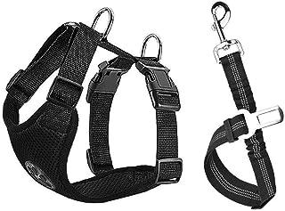 Lukovee Dog Safety Vest Harness Seatbelt, Dog Car Harness Seat Belt Adjustable Pet Harnesses Double Breathable Mesh Fabric...