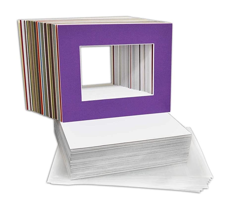 Mat Board Center, 8x10 Picture Mat Sets for 5x7 Photo. Includes a Pack of 50 White Core Bevel Pre-cut White Core Matte & 50 Backing Board & 50 Clear Bags (MIX)