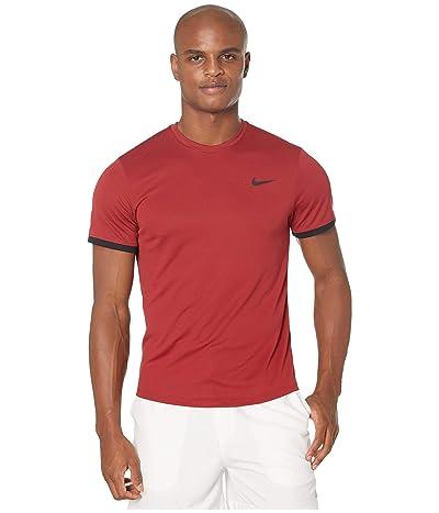 Nike NikeCourt Dri-FIT Short Sleeve Tennis Top (Team Crimson/Black/Black) Men