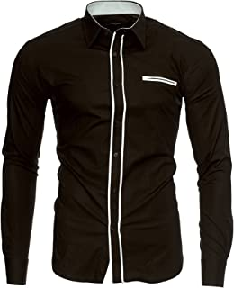 8a43da4ff787 Kayhan Hombre Camisa Manga Larga Slim Fit S-6XL - Modello Twoface + London