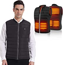 HOOCUCO 5V Lightweight Heated Vest Size Adjustable USB Charging 3 Temp Setting Heating Warm Puffer Jacket for Outdoor Camp...