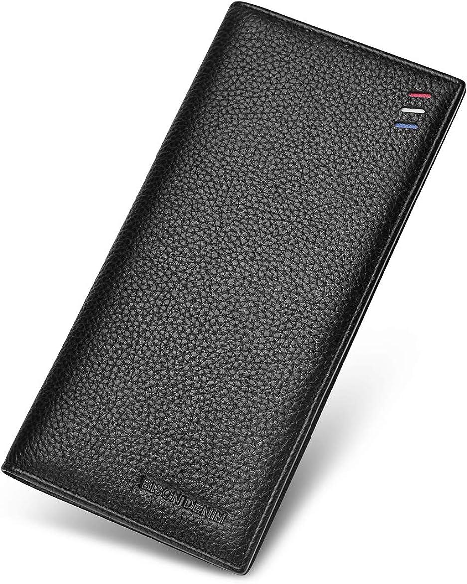 BISON DENIM Mens Credit Card Wallet Genuine Leather Bifold Wallet Slim Long Wallet Billfold with Zipper Pocket ID Window