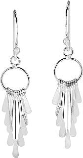 Cascading Rods Chandelier Style .925 Sterling Silver Dangle Earrings