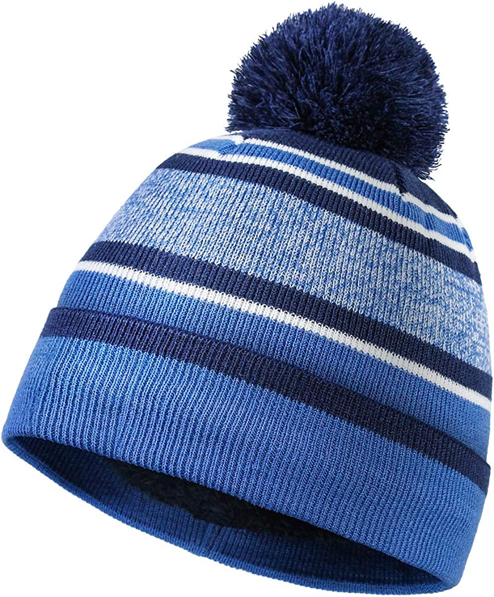Winter Beanie Hat for Kid & Baby & Toddler, Cute Windproof Thermal Winter Hat for Boy and Girl with Faux Fur Pompom