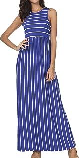 Women's Summer Sleeveless Striped Pockets Loose Swing Casual Maxi Dress