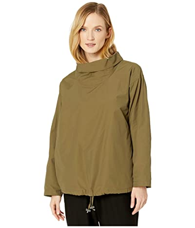 Eileen Fisher Light Organic Cotton Nylon Drape Neck Pullover (Olive) Women