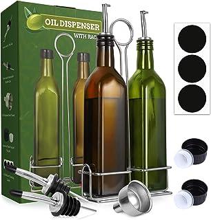 Aozita 17oz Olive Oil Dispenser Bottle Set with Stainless Steel Holder Rack - 500ml Glass Oil & Vinegar Cruet with No-drip...