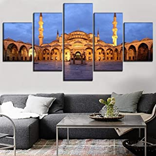 MSSOYF 5 Pieces Modern Canvas Painting Wall Art Decorative Blue Sky Mosque Courtyard Wikimedia Hd Printed Framework Modular Pictures Poster-12x16in 12x24in 12x32in- Framed