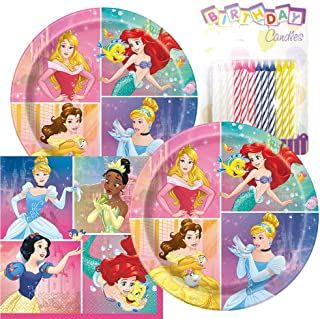 Princess Themed Party Pack – Includes Paper Plates & Luncheon Napkins Plus 24 Birthday Candles – Servers 16