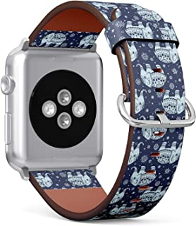 Compatible with Apple Watch 42mm & 44mm Leather Watch Wrist Band Strap Bracelet with Stainless Steel Clasp and Adapters (Tribal Elephant)