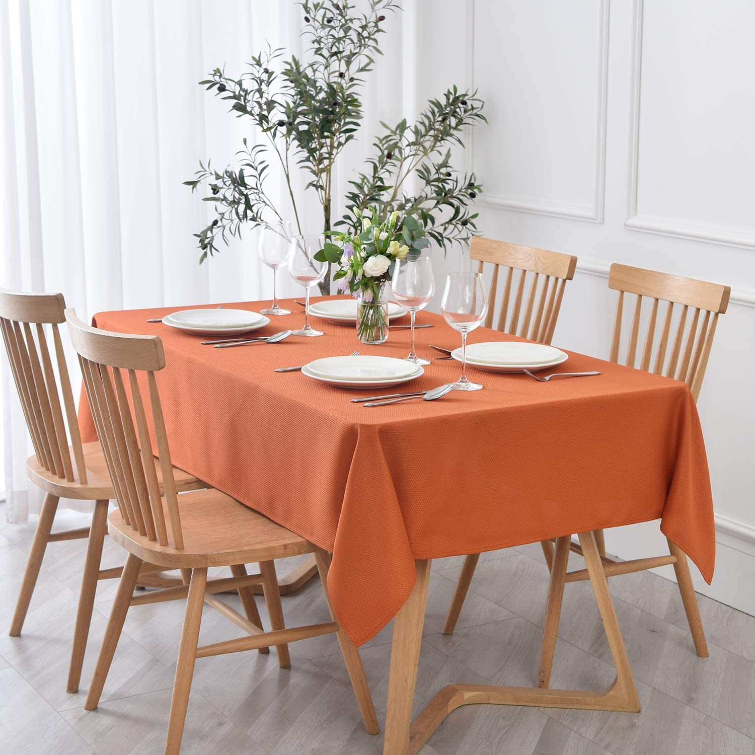 maxmill Textured Rectangle Tablecloth Ranking integrated 1st Popular overseas place Water Resistant Fr Wrinkle